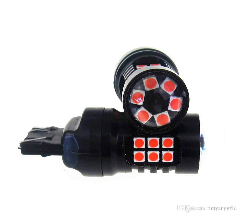 Red Color T 20 LED Strobe Flashing Brake Tail Light Parking Safety Warning Bulbs 30 Piece 3030LED Red Color