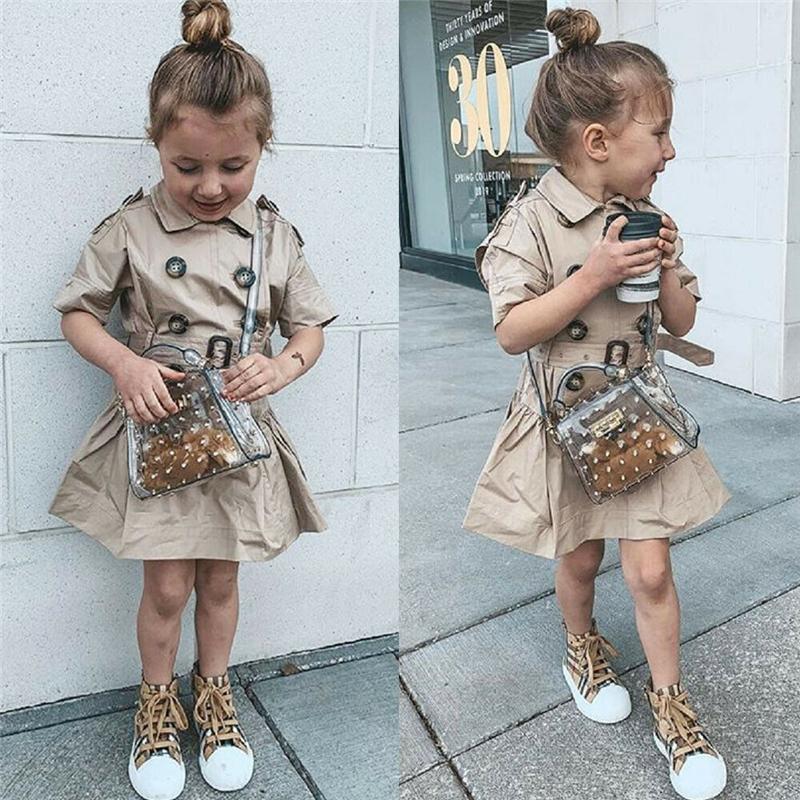 여자 드레스 잉글랜드 스타일 패션 짧은 소매 더블 브레스트 어린이 드레스 공주 어린이 드레스 해변 여자 옷 3-7 년 T200106