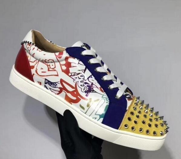 Lace Up Temporada Patente couro Impresso júnior lazer Flats Mulheres, homens Low-top inferior Red Sneakers Shoes Moda Luxo Shoes Casual Box