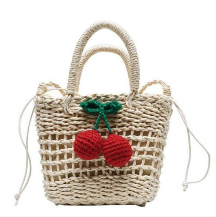2020 дизайнер роскошных сумок, кошельков женщин вишня соломы мешки девушки прекрасный приморский пляжный отдых сумка сумка