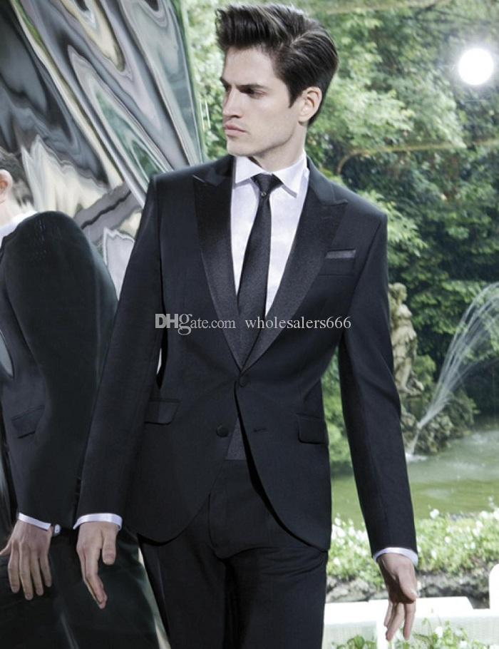 Custom Made Groomsmen Tepe Yaka Damat Smokin Siyah Erkekler Düğün Suits / Balo / Akşam Yemeği İyi Adam Blazer (Ceket + Pantolon + Kravat) W249