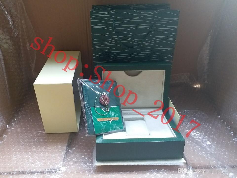럭셔리 새 스타일 브랜드 그린 시계 원래 나무 상자 논문 선물 시계 상자 롤렉스 박스 116600 시계 상자 005 가죽 가방 카드