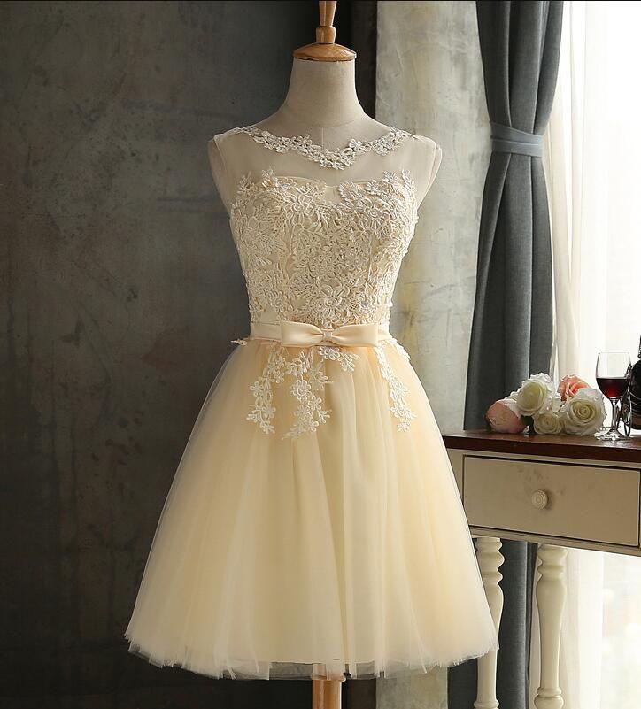 Kısa Balo Gelinlik Modelleri Dantel Aplike Sheer Boyun Çizgisi Dantelli Tül Şampanya Korse Düğün Konuk Balo Parti Elbise FL1601