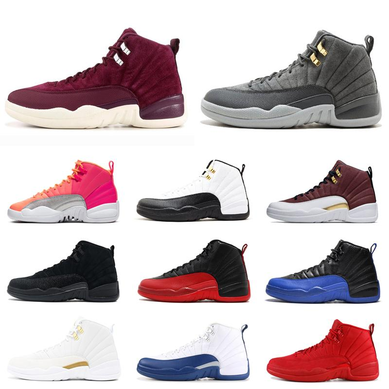 Zapatos de baloncesto de los hombres de 12 años 12 Jumpman oscuro gris para hombre OV Negro Blanco Juego Real Bola FIBA caliente ponche Trainer Moda Deportes zapatillas 7-13
