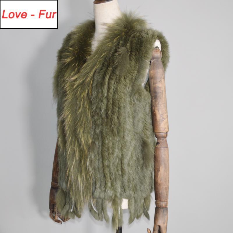 Nouveau Parti vraies femmes gilet de fourrure tricotée Glands 100% de vraie fourrure véritable Gilet Collar Raccoon Gilets