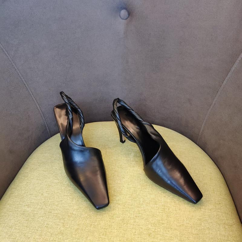 Осень Нового стиля Женщины старинных сандалий высокой пятки мода небольшая квадратные пальцы обувь 8 см натуральной кожи леди высокой пятки обувь