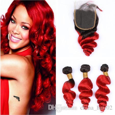 # 1B / Red Ombre 루즈 웨이브 3Bundles 브라질 버진 헤어 Closure Ombre 레드 블랙 루츠 Wavy Human Hair Weaves 4x4 레이스 클로져