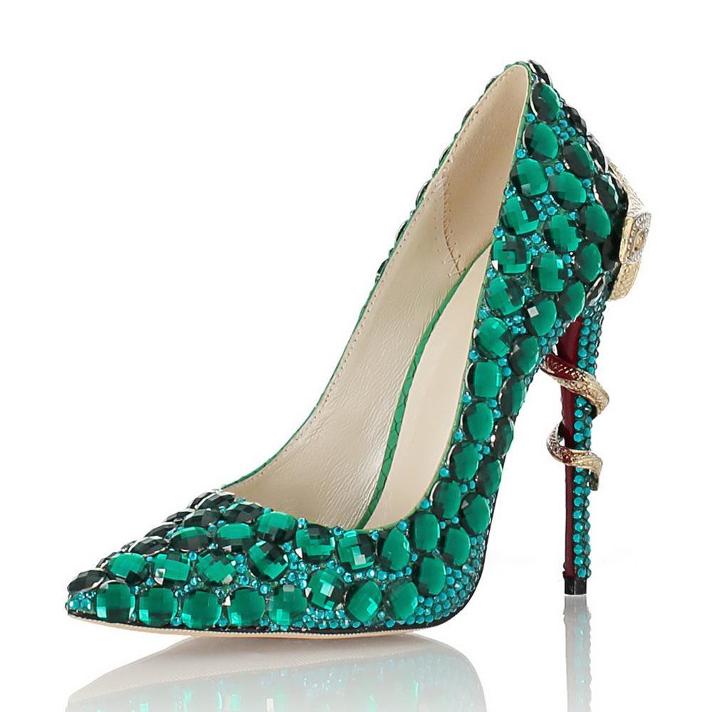 Ручной работы зеленые стразы свадебные туфли-лодочки из овчины с острым носом красные низы дизайнерские роскошные свадебные туфли-лодочки 11 см размер 35-41