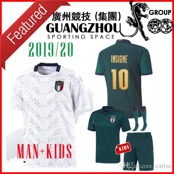 2019 2020 Italia tercera fútbol blanco ausente Jersey 19 20 Italia maglie Verratti Jorginho Romagnoli MAN + KIDS camiseta de fútbol