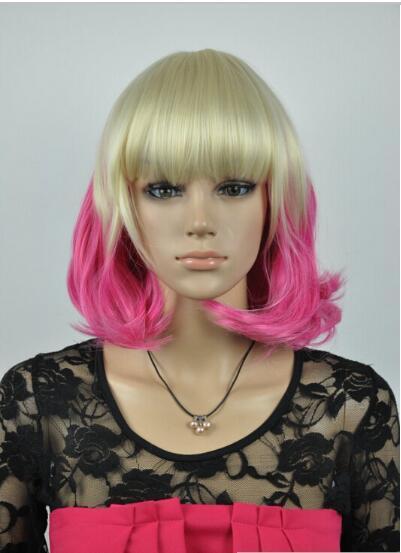 무료 배송 + + 새로운 짧은 다크 블론드 믹스 핑크 여성의 자연 머리카락 전체 가발 가발