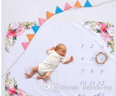 Bébé Photographie couvertures arrière-plan infantile Milestone Couverture photo Props Lettres Fleur Swaddle Animaux Toison Wraps Blanket Tapis TLZYQ75
