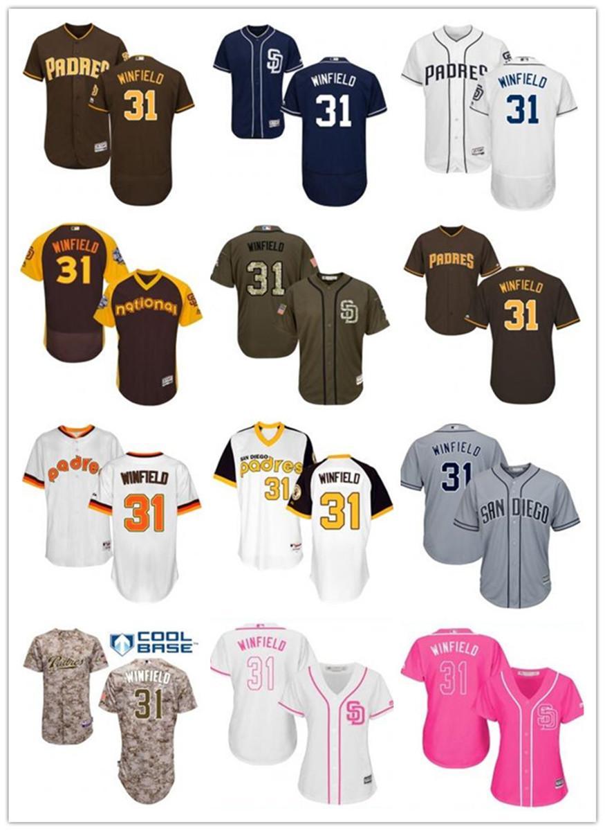 freies Schiff benutzerdefinierte San Diego San DiegoPadres 31 Dave Winfield Baseball Jersey Padres Baseball Wear Männer Frauen Jugend Trikots