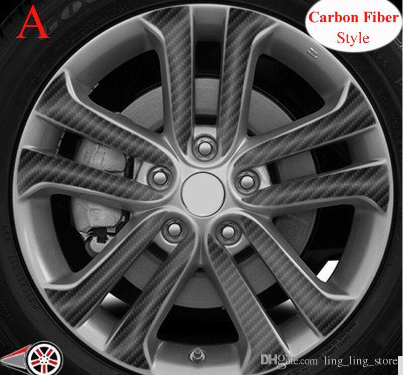Sunfada 17-дюймовый черный углеродное волокно / матовый черный виниловый колесо RIM наклейки для Nissan Juke 2011-2019 укладки автомобиля (на 4 колеса)