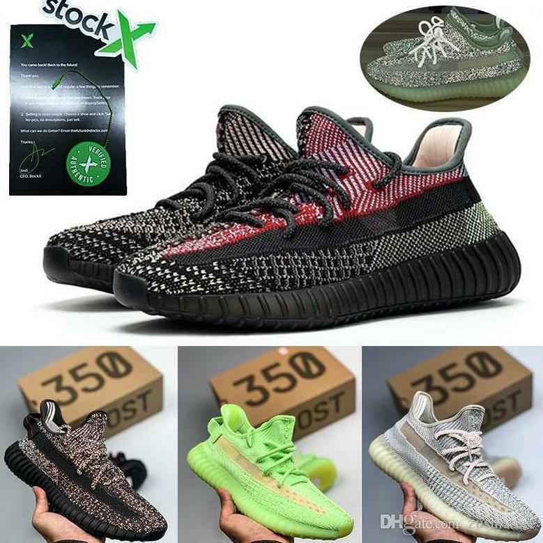 Kanye West V2 Hombres Mujeres al aire libre de los zapatos corrientes Negro Bred Crema estático reflectante Gid Glow True Form arcilla cebra Lundmark baloncesto de los zapatos