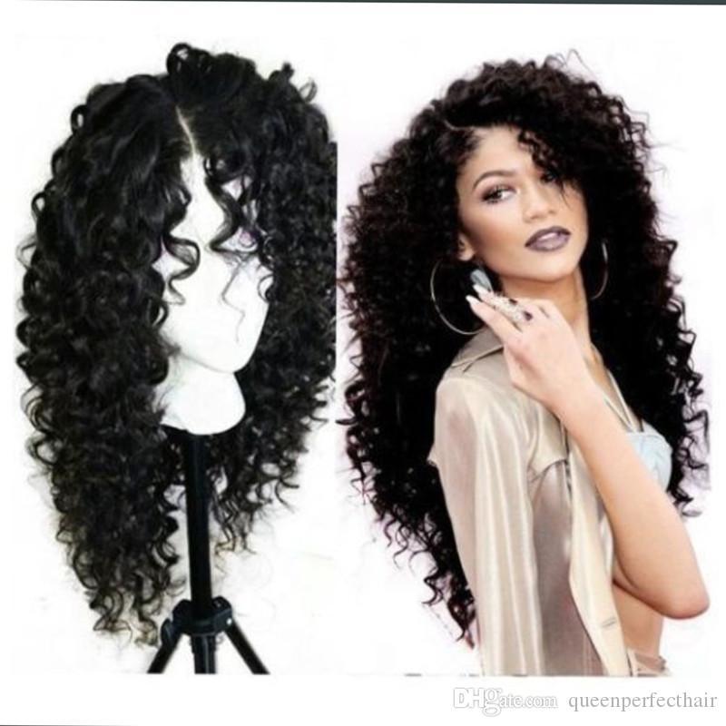 Мода натуральные черные длинные странные вьющиеся вьющиеся волосы дешевые синтетические кружевные парики Детские волосы термостойкие волокна мягкие кружевные парики черные женщины