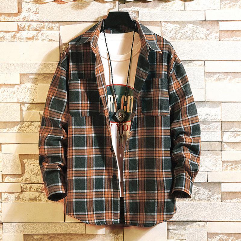 Casual Autumn Plaid Men Shirt Long Sleeve Winter Flannel Shirts Mens Women Shirt Vintage Men Japanese Hip Hop Mens Shirtb50