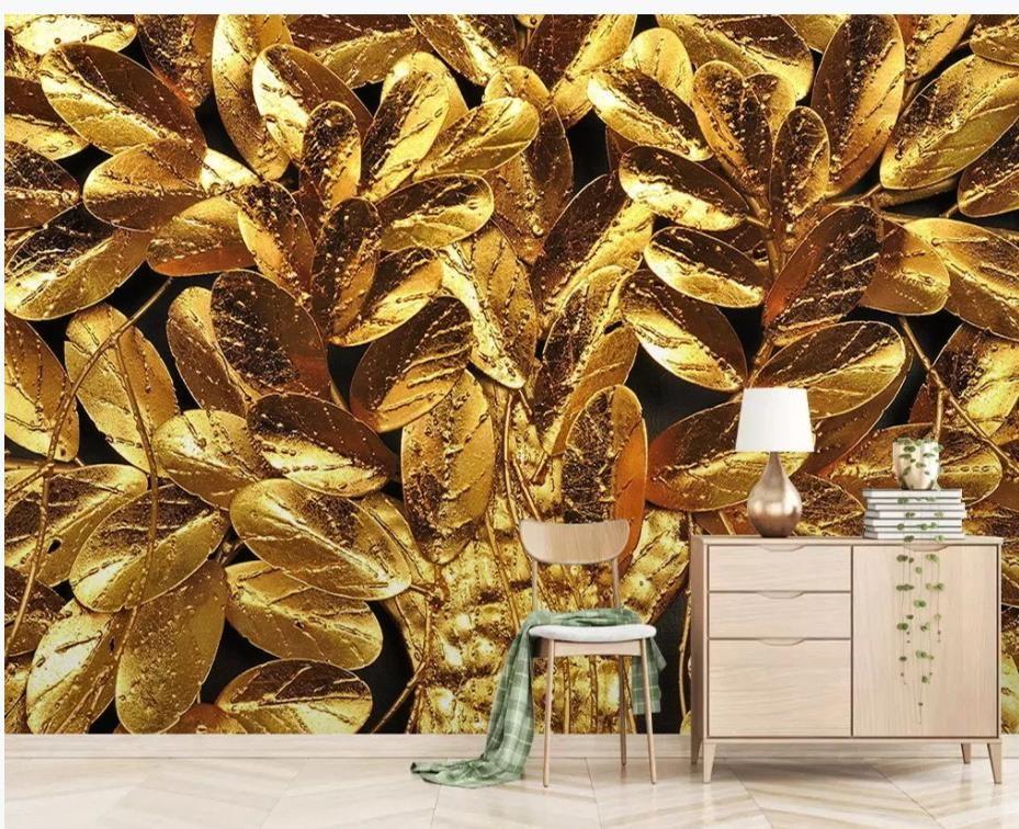 décoration murale de fond de feuille d'or TV peinture peintures murales Fond d'écran 3D pour le salon
