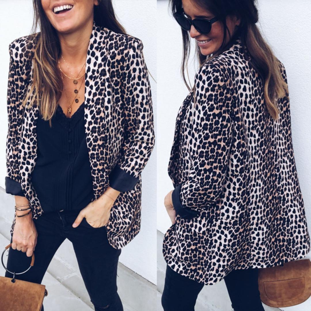 Женщины леопардовые блейзеры весна осень пр модельер пальто куртки костюмы блейзер