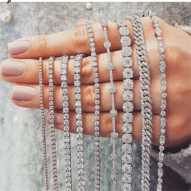 20 Stil Köpüklü Lüks Takı 925 Gümüş Çoklu Şekli Beyaz Topaz CZ Elmas Taşlar Kadınlar Düğün Bilezik İçin Lover Hediye
