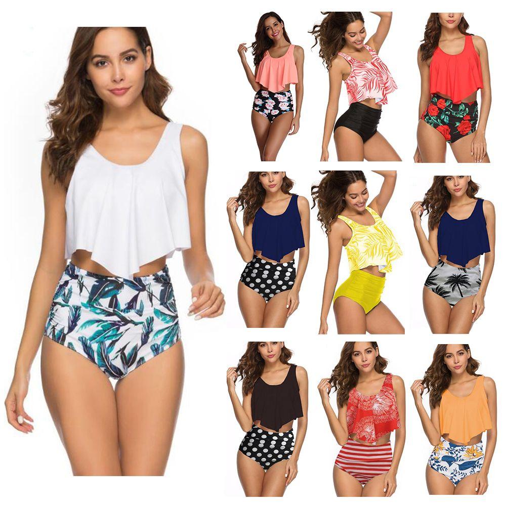 2019 femmes sexy deux pièces Maillots de bain taille haute Taille Plus Maillots de bain Bikini Imprimer été Beachwear feuille de Lotus Floral Bikini soutiens-gorge maillot de bain