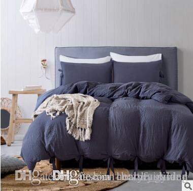 ABD Boyutu 3 adet Lüks Yatak Seti Yorgan Polyester Düğüm Yatak Örtüsü Set Kral Boyutları Basit Stil Nevresim Set Yatak Malzemeleri