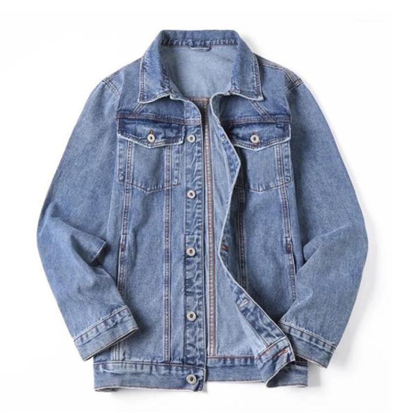 Mens soltos Casual Casacos Plus Size Sexo Masculino Jackets Sólidos Mens Cor Jeans Casacos manga comprida lapela Neck
