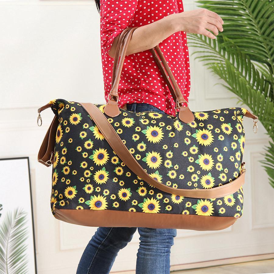 Портативный подсолнечник напечатанный напечатанный организатор макияж сумка большой емкости косметические сумки стиральные сумки холст нижнее белье сумка для хранения RRA1670