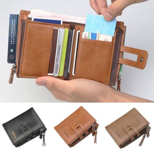 Mens Luxury Soft Genuine Leather RFID Blocking Card Wallet Zip Cash Coin Pocket