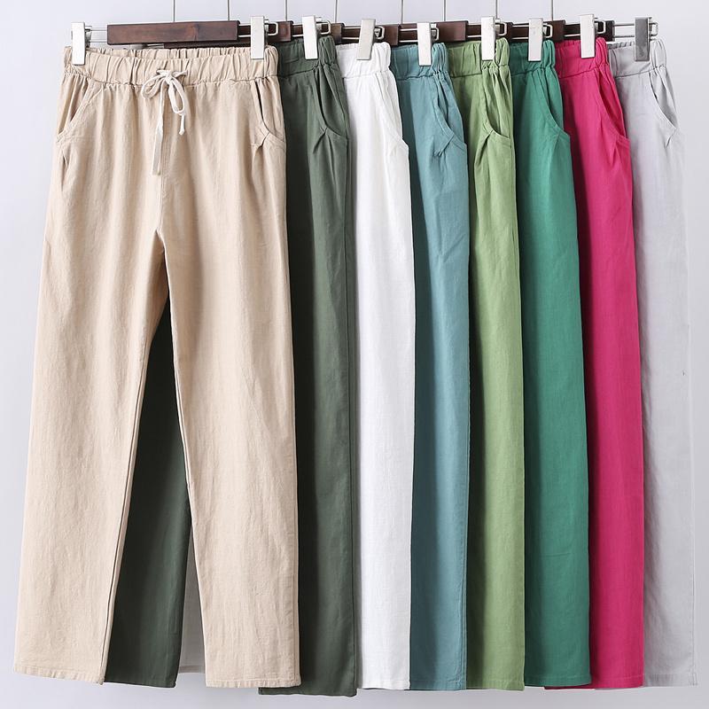 Pantolon Kadınlar Sweatpants Pantalon Femme Şeker Renkler Pamuk Keten Harem Pantolon Gündelik Artı boyutu