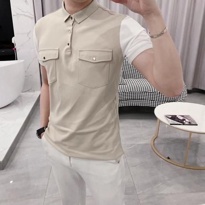 Camisa de la personalidad nueva delgada camisa de manga corta color de moda pura solapa informal jóvenes desgaste de los hombres del verano 2020 T de los hombres