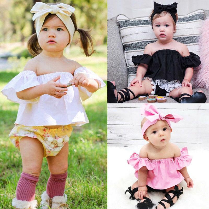 Новорожденный Девушка с плечом Crop Top Summer Сыпучей Рубашкой Футболка Блуза Горячей Мода хлопок O-образный вырез сплошного цвета с коротким рукавом Top