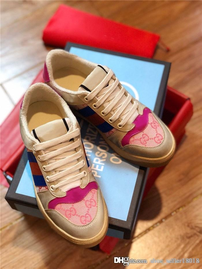 Mens Womens Screener Sneaker mit Kristallen, Old School Shapes Stiefel Classic Trainer Schmutzige Farbe Mit Web Mit Box Größe 35-44