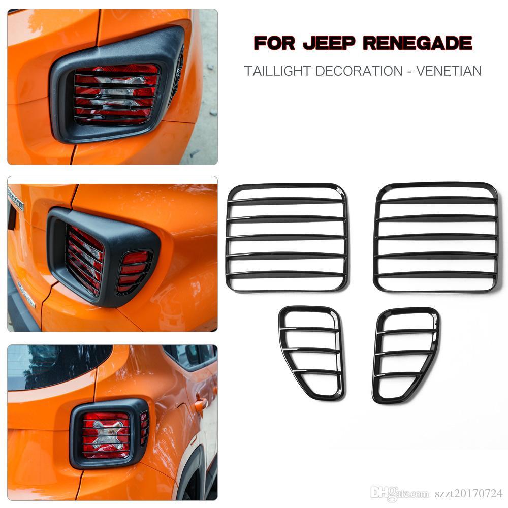 ABS lampada di coda nero della copertura della coda delle protezioni della luce della calotta di protezione per Jeep Renegade 2016-2018 Accessori auto esterni (feritoia)