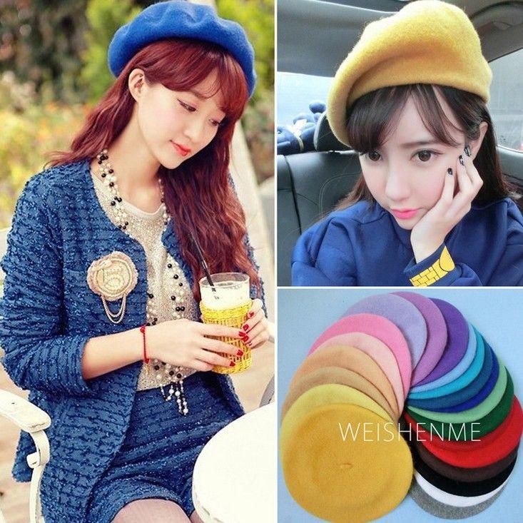 جميلة الفتيات الصوف قبعة قبعة القبعات الكثير من الألوان النساء أزياء الرسام الصوف في الخريف الدافئة الدافئة القبعات القبعات السيدات القبعات الفتيات الصوف قبعات ث