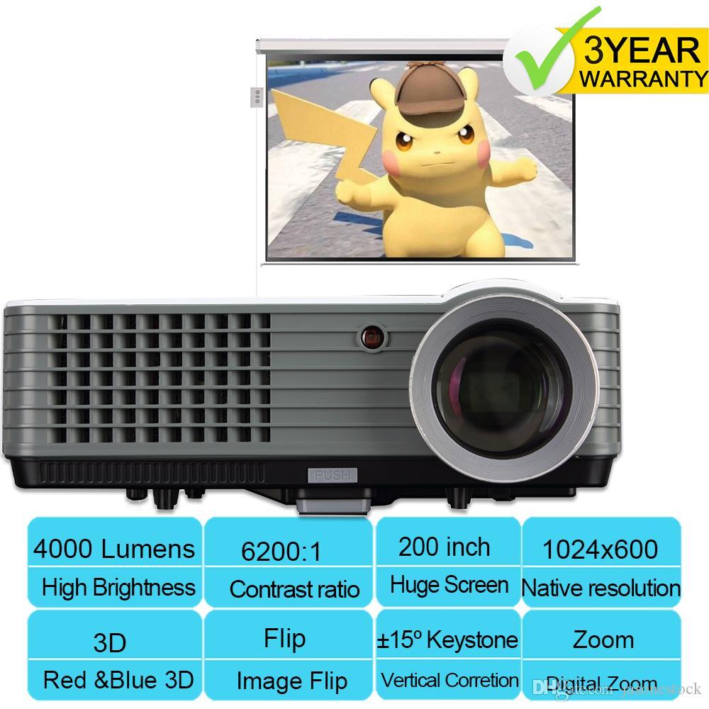 3D-Heimkino-Multimedia 4000 Lumen USB-HDMI-LED Hauptprojektor HD 1080P TV schnelle Lieferung. Free 3D Resources.3 Jahr Garantie.