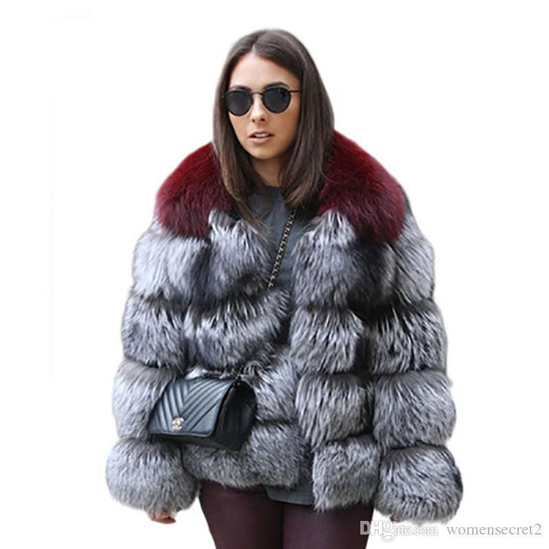 فو معطف الفرو موضة التباين ColorThickened الدافئة أبلى عارضة مصمم كم طويل معاطف النساء ملابس نسائية الشتاء