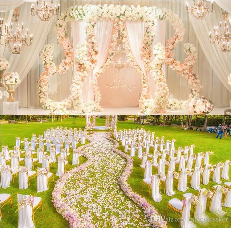 Kwiat Wedding Road Lead Flowers Długi Stół Centerpieces Kwiat Arch Drzwi Lottel Silk Rose Wedding Party Tackdrops Dekoracja