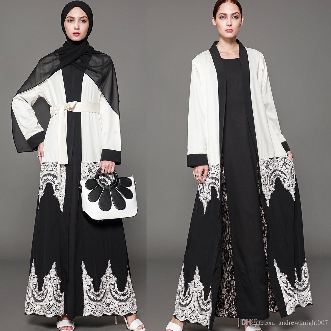 5XL мусульманских женщин элегантное платье с длинным рукавом длиной до пола свободные кружева черный белый Дубай Абая черный белый Дубай платье с поясом DK731MZ
