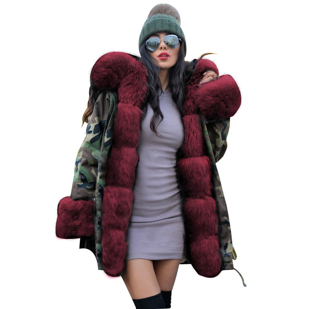 19FW Designer Women's Coats for Autumn and Winter Fashion New Slim Warm Camouflage Jacket Long Fur Collar Hooded Coat 4 Colors S-2XL
