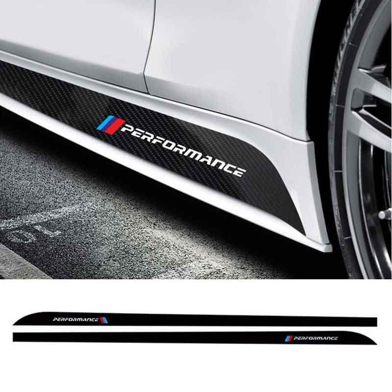 سيارة التصميم سيارة باب جانبي تنورة شرائط لاصقة للبي ام دبليو M الأداء لBMW رياضة السيارات من ألياف الكربون الأسود الشارات 3D 5D الديكور الخارجي