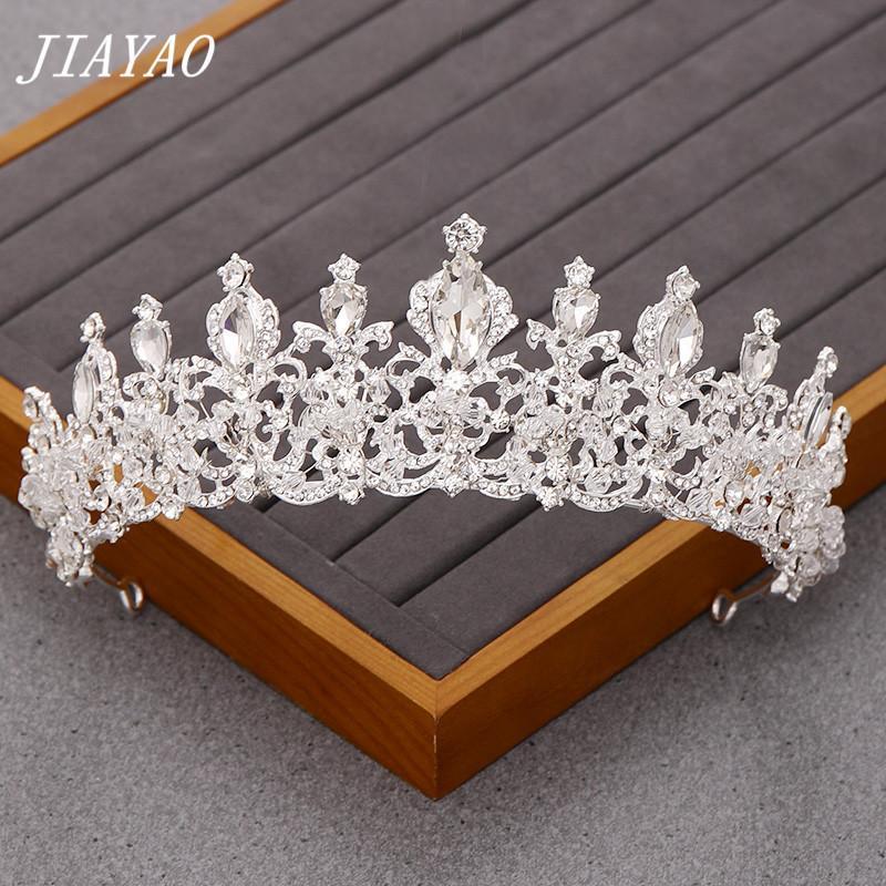 Joyería de la boda Cristal de Plata Accesorios para el cabello de la corona nupcial de la boda Tiara pelo Rhinestone de la corona Corona cabeza diadema Celada