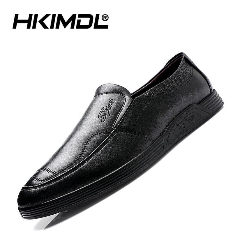 HKIMDL 2019 новых мужчин квартиры дышащий повседневная итальянские мокасины удобные бизнес мужская кожаная обувь