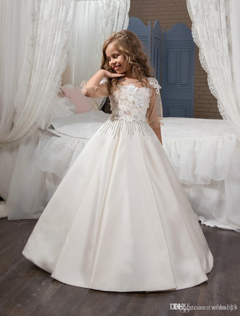 3/4 maniche 2019 Flower Girl Dresses For Weddings Ball Gown Satin Lace Beaded Baby Long Abiti da prima comunione per le bambine