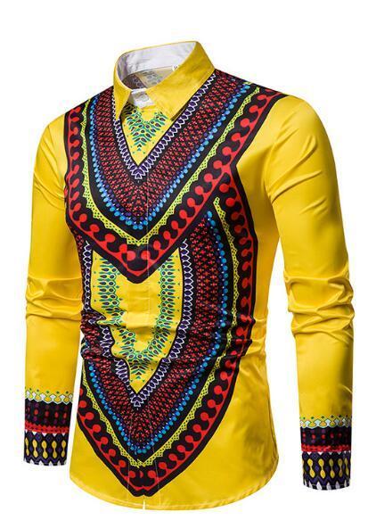 2019 Nuevo Mejor la venta de famosos estilo étnico multicolor-da vuelta camisas de manga larga de los hombres de Blockbuster Fábrica de venta directa