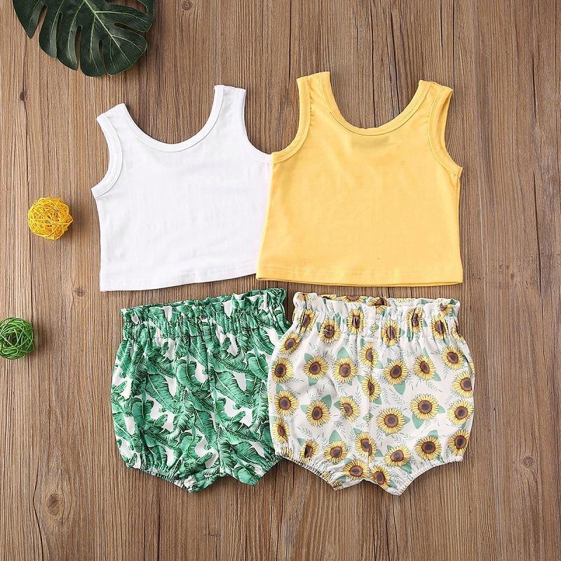Baby Girl Floral Kleidung Set Kleinkinder Weste + Banana Leaf Sunflower PP Shorts 2pcs / set Boutique Babymode Kinderkleidung M1986