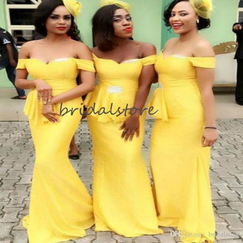 Giallo africani sirena Abiti da sposa Off The spalla floor-lunghezza lungo abito da damigella d'onore 2020 Plus Size abito da sposa Giudizi Wear