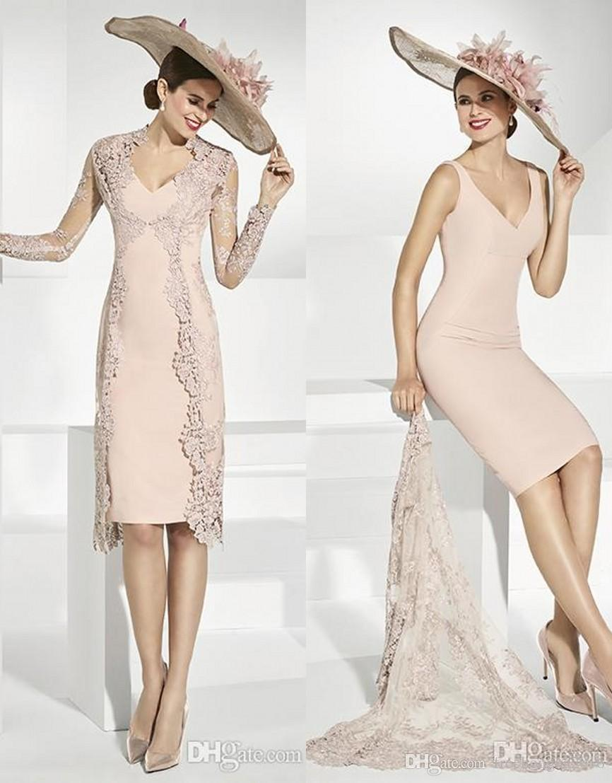 Elegant Lace Mother Of The Bride Dresses Evening Gowns With Jacket V Neck Plus Size Wedding Guest Dress Sheath Knee Length Prom Dresses