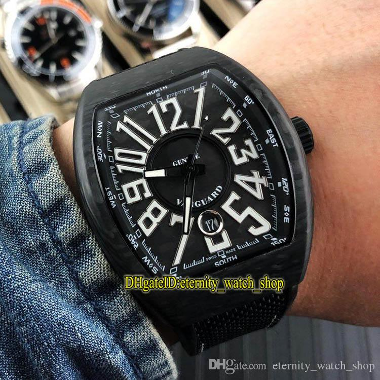 5-Style Best Vanguard Luminous Carbon Fibre Case White Date Dial Japan Miyota Automatic V 45 SC DT Mens Watch Rubber Strap Sport Watches-07