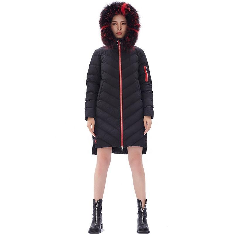 ODM Yeni bayanlar kat aşağı kadın kapüşonlu packable aşağı ceket termal siyah palto