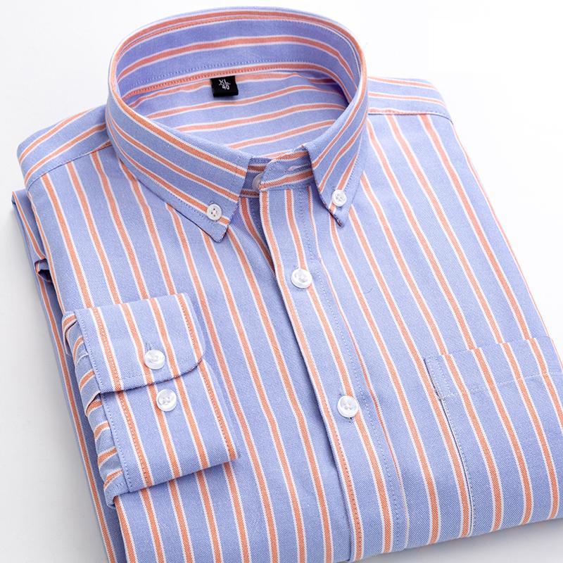 Erkekler Gömlek 2019 Çizgili Uzun Kollu Oxford Gömlek Erkekler Elbise Camisa Masculina Sonbahar Casual Erkek Gömlek Kaliteli Pamuk